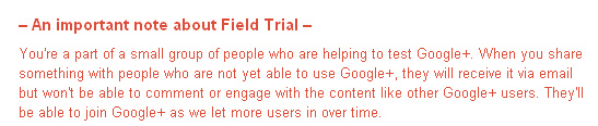 Google + Trial message